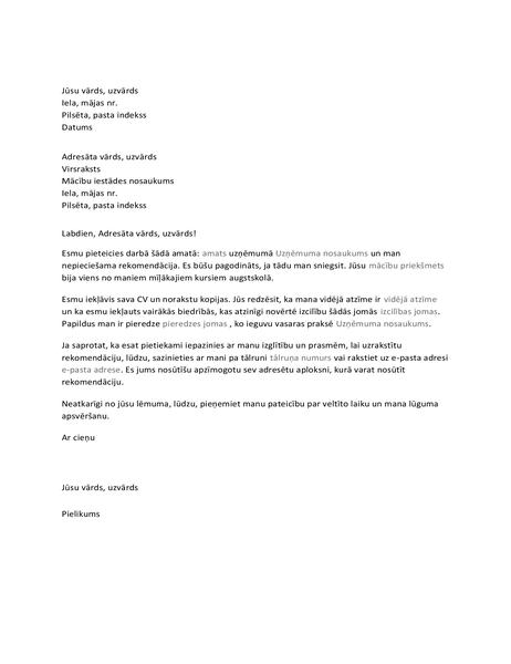 Vēstule profesoram ar lūgumu pēc rekomendācijas
