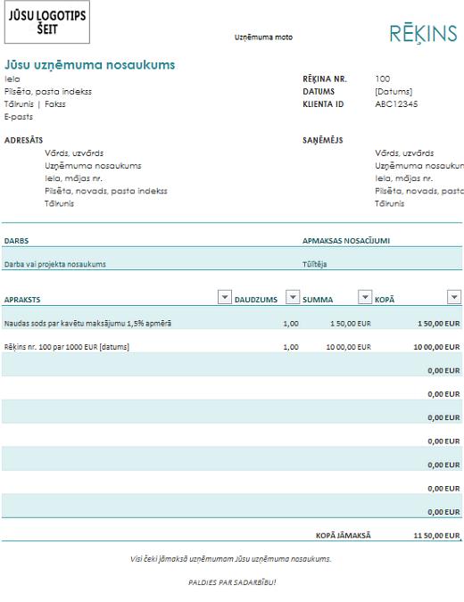 Rēķins ar soda naudu (zilā krāsā)