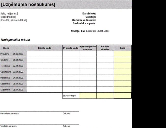 Nedēļas laika tabula, sakārtota pēc klientiem un projektiem