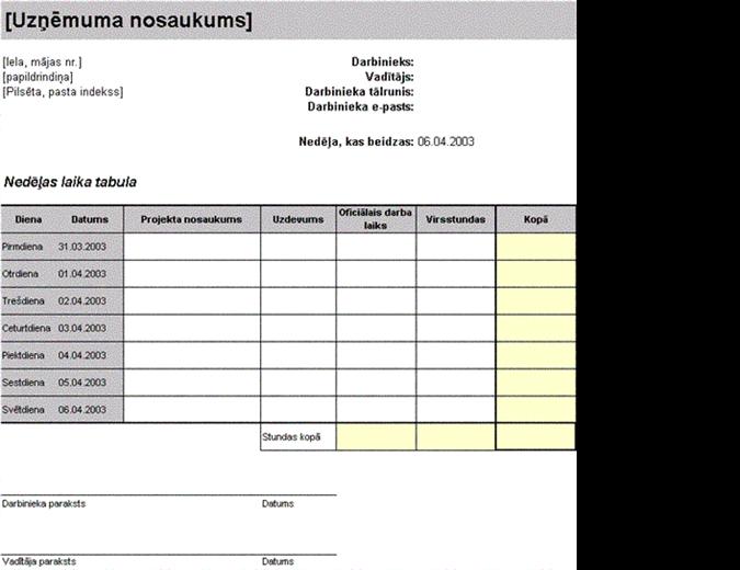 Nedēļas laika tabula, kurā norādītas apmaksājamās stundas