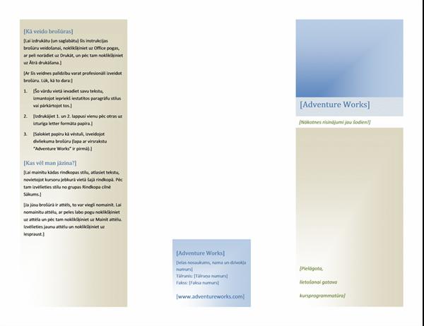 Brošūra (8 1/2 x 11, ainavorientācija, divkāršs locījums)