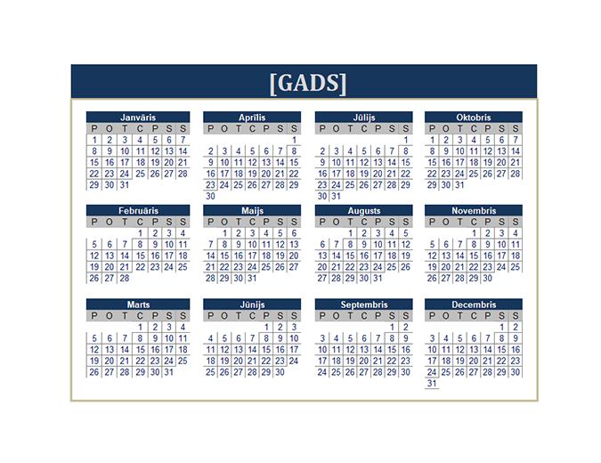 Kalendārs (jebkuram gadam)
