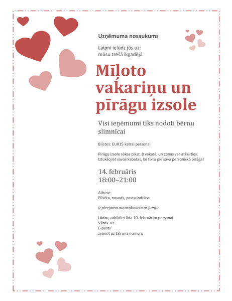 Valentīna dienas mīļoto pīrāgu izsoles uzaicinājums