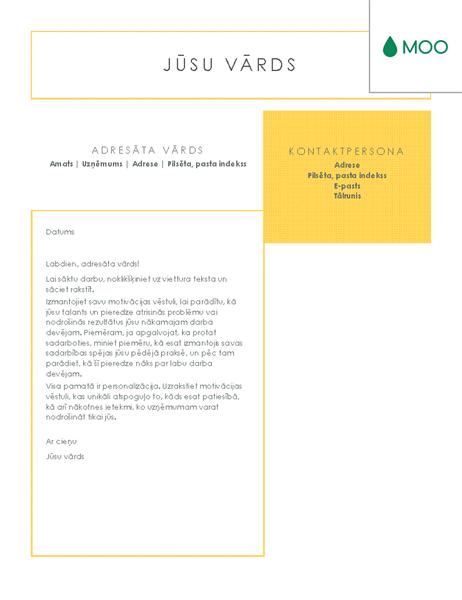Izteiksmīga un pārskatāma motivācijas vēstule, ko veidoja MOO