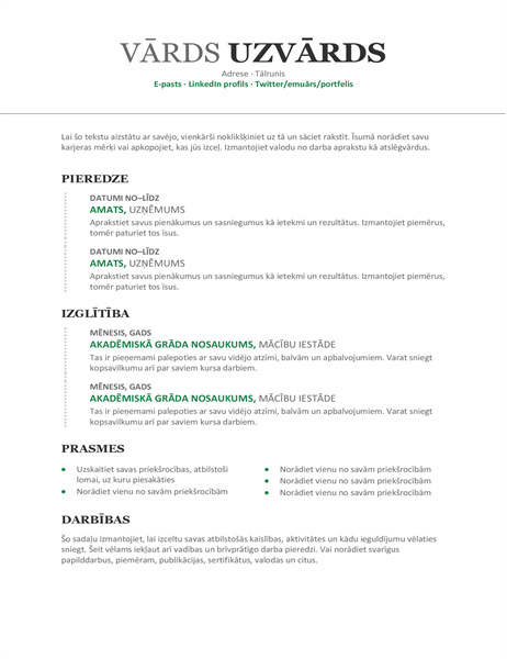 Moderns hronoloģisks CV