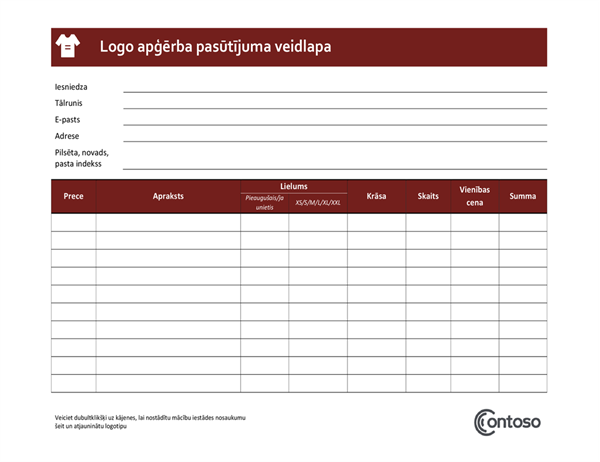 Logowear pasūtījuma veidlapa