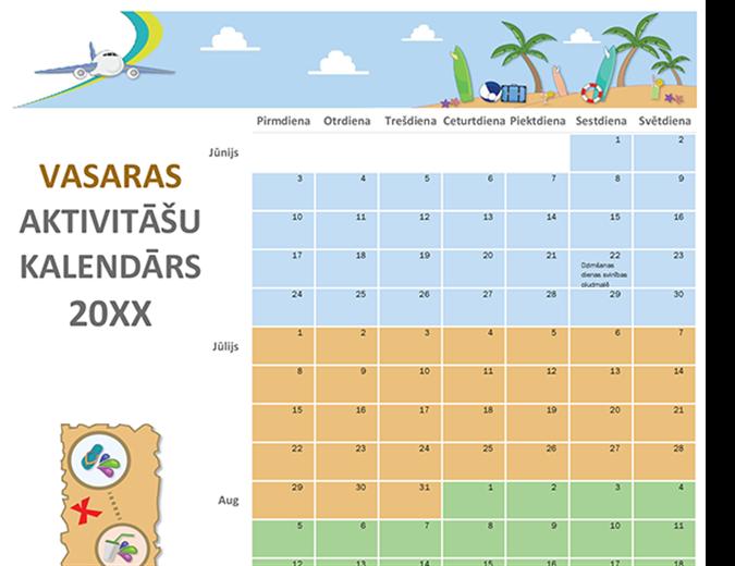 Vasaras aktivitāšu kalendārs