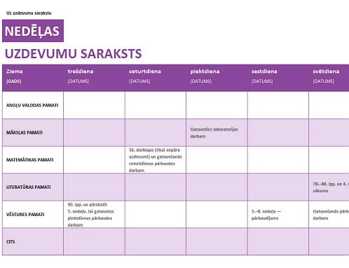 Nedēļas uzdevumu saraksts