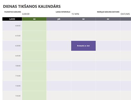 Dienas tikšanos kalendārs