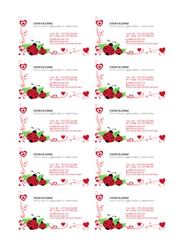 Vizītkartes (mārītes un sirsniņas, līdzinātas pa kreisi, lapā 10 gab.)