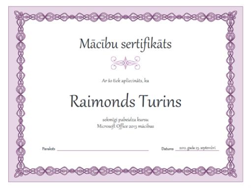 Mācību sertifikāts (purpura ķēdes noformējums)