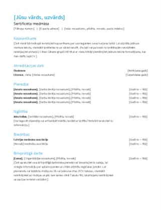 Reģistrētas medicīnas māsas CV