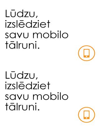 Atgādinājums izslēgt mobilos tālruņus