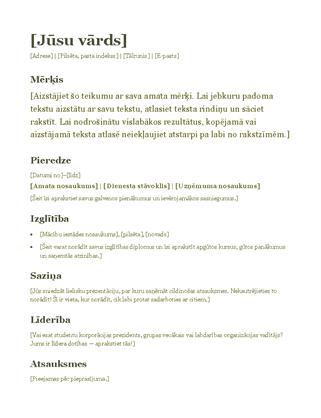 CV (zaļā krāsā)