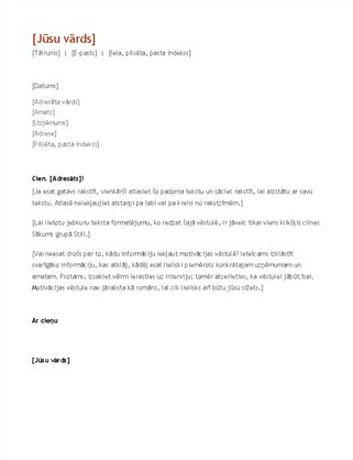 CV un motivācijas vēstule (hronoloģiskā secībā)