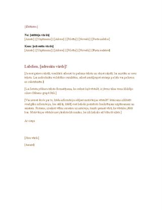 Oficiāla darījumu vēstule