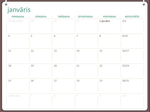 2018.gada kalendārs (no pirmdienas līdz svētdienai, divu gredzenu motīvs)