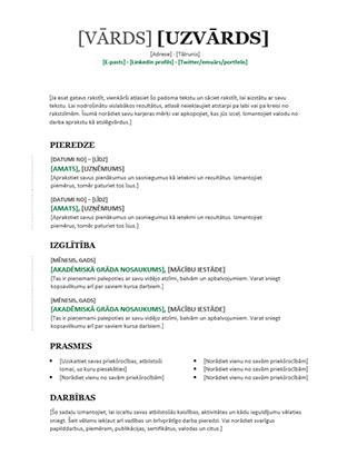 Hronoloģisks CV (moderns noformējums)