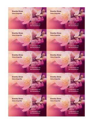 Vizītkartes (ziedu fotoattēls)