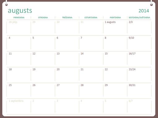2014.–2015.mācību gada kalendārs (augusts–jūlijs)