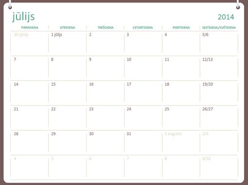 2014.–2015.mācību gada kalendārs (jūlijs–jūnijs)
