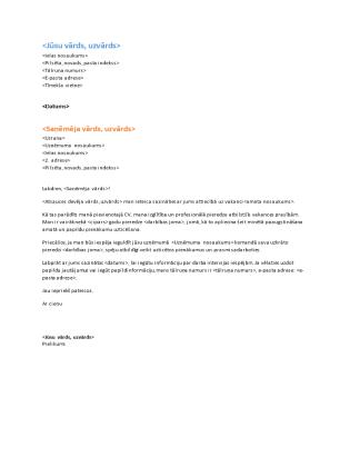 Funkcionāla CV motivācijas vēstule (saskaņota ar funkcionālu CV)