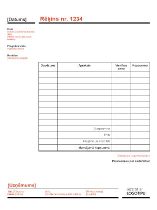 Biznesa faktūrrēķins (noformējums ar sarkanu un melnu krāsu)