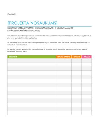Uzdevumu piešķiršanas lapa