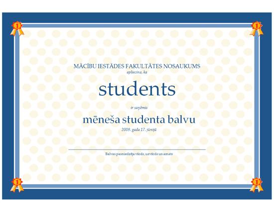 Titula Mēneša skolēns diploms