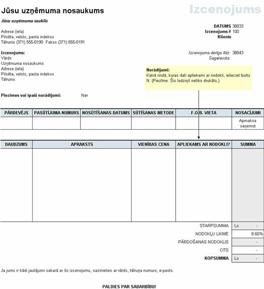Cenas piedāvājums ar nodokļu aprēķinu