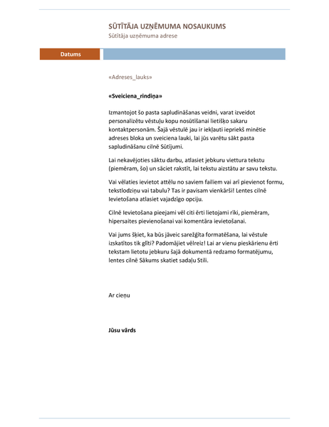 Pasta sapludināšanas vēstule (mediānas dizains)