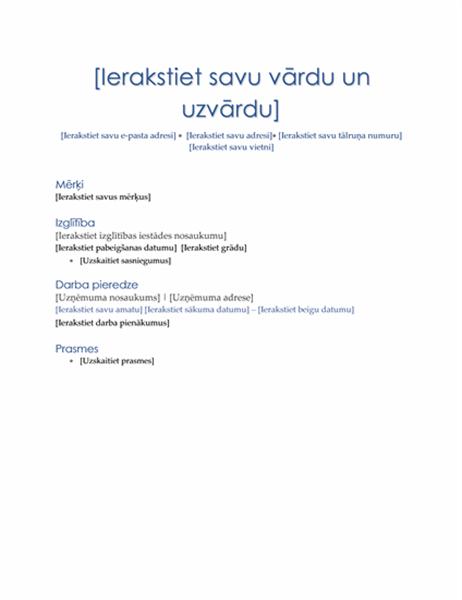 CV (vadošā tēma)