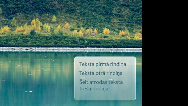 Animēti paraksti, kuru asums pakāpeniski palielinās ar meža attēlu fonā