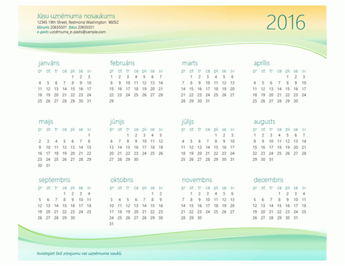 Maza uzņēmuma kalendārs (jebkuram gadam)