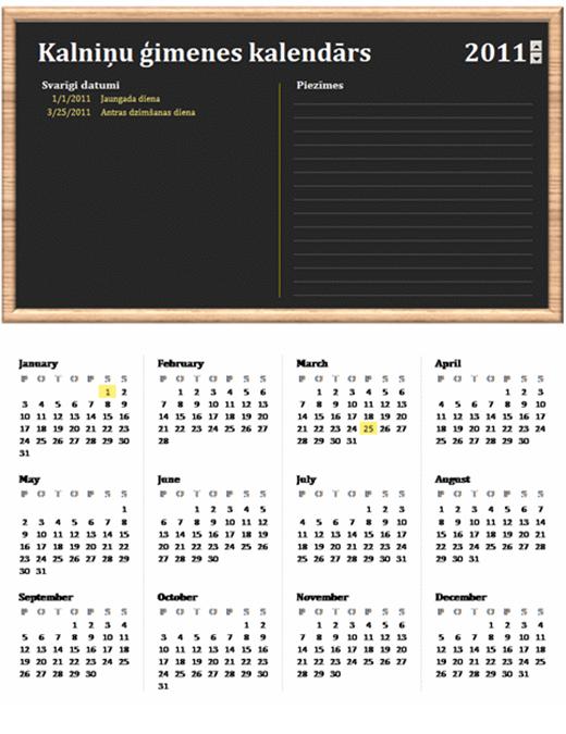 Ģimenes kalendārs (jebkurš gads, no pirmdienas līdz svētdienai)