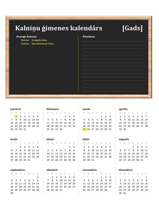 Ģimenes kalendārs (jebkurš gads, Pr–Sv)