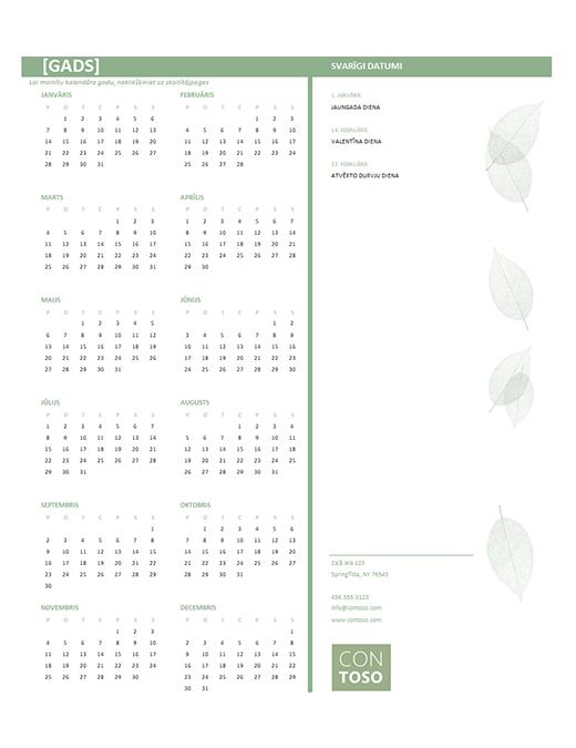 Maza uzņēmuma kalendārs (jebkurš gads, Pr–Sv)