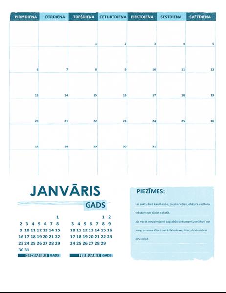 Mācību gada kalendārs ar formātu no pirmdienas līdz svētdienai (universāls)