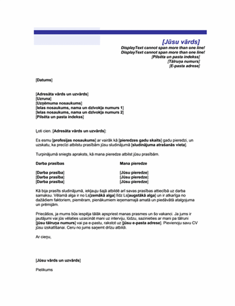 Pavadraksts ar algas prasībām (zilu līniju tēma)