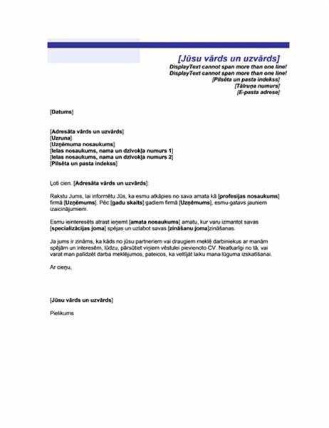 Vēstule, ar paziņojumu par darba meklēšanu (zilu līniju tēma)