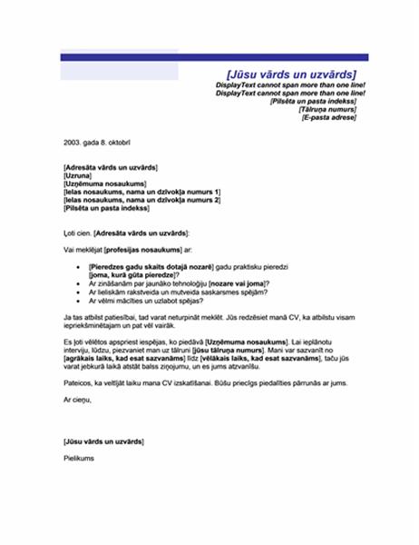 Pavadraksts labprātīgam darba pieteikumam (zilu līniju tēma)