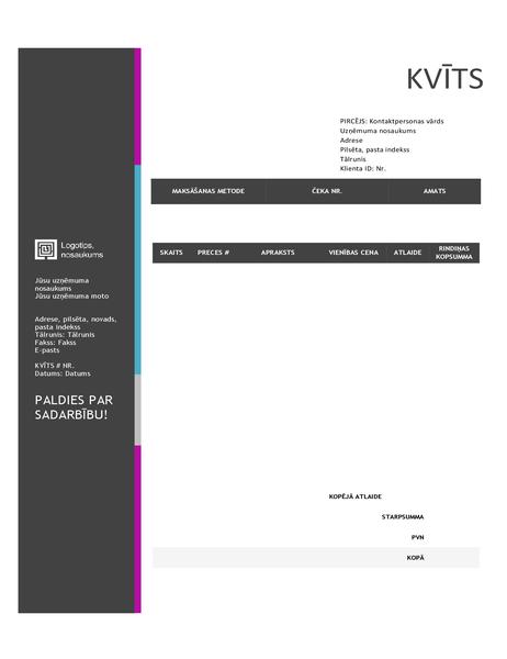 Pārdošanas pavadzīme (zila fona dizains)