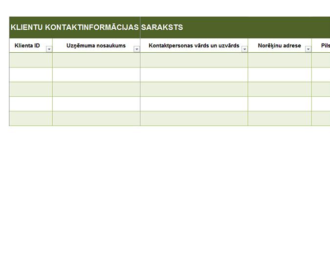 Vienkāršs klientu kontaktinformācijas saraksts