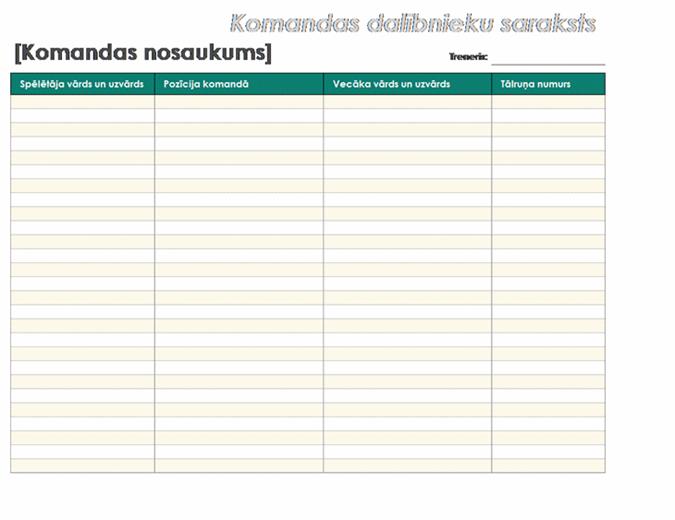 Jaunatnes sporta komandas saraksts