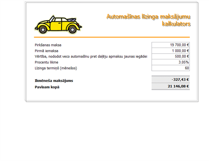 Automašīnas līzinga maksājuma kalkulators