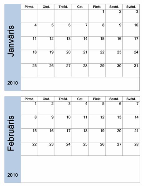 2010.gada kalendārs ar zilu apmali (6lpp., pirmd.–svētd.)