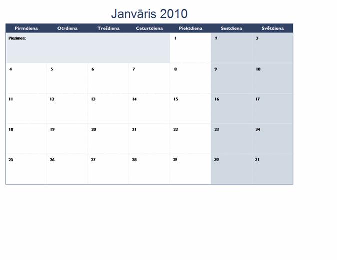 2010. gada kalendārs vairākās darblapās (12 lpp., pirmdiena–svētdiena)