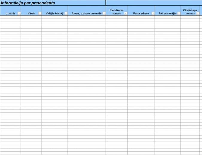 Darba pieteikumu dati un salīdzinājuma tabula