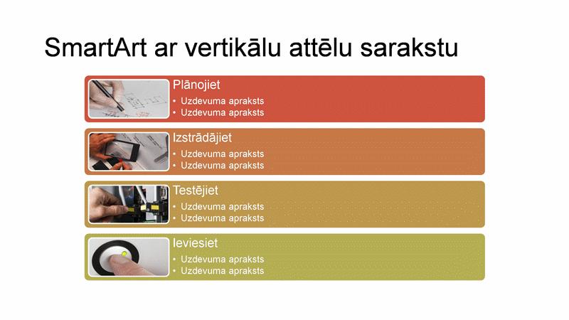 SmartArt slaids— saraksts ar vertikāli novietotiem attēliem (daudzkrāsainas rūtis uz balta fona), platekrāna