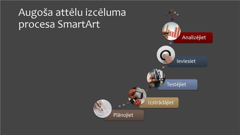 Pieaugošs attēlu izcēlumu process SmartArt shēmā (daudzkrāsu uz balta fona, platekrāns)